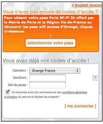 Login Gratis WLAN Paris Orange